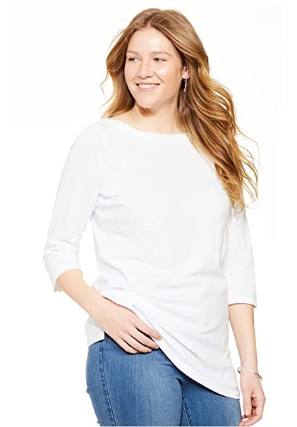 7e4d12b7ca5 Woman Within Plus Size Perfect Boatneck Three-Quarter Sleeve Tee at Amazon Women s  Clothing store