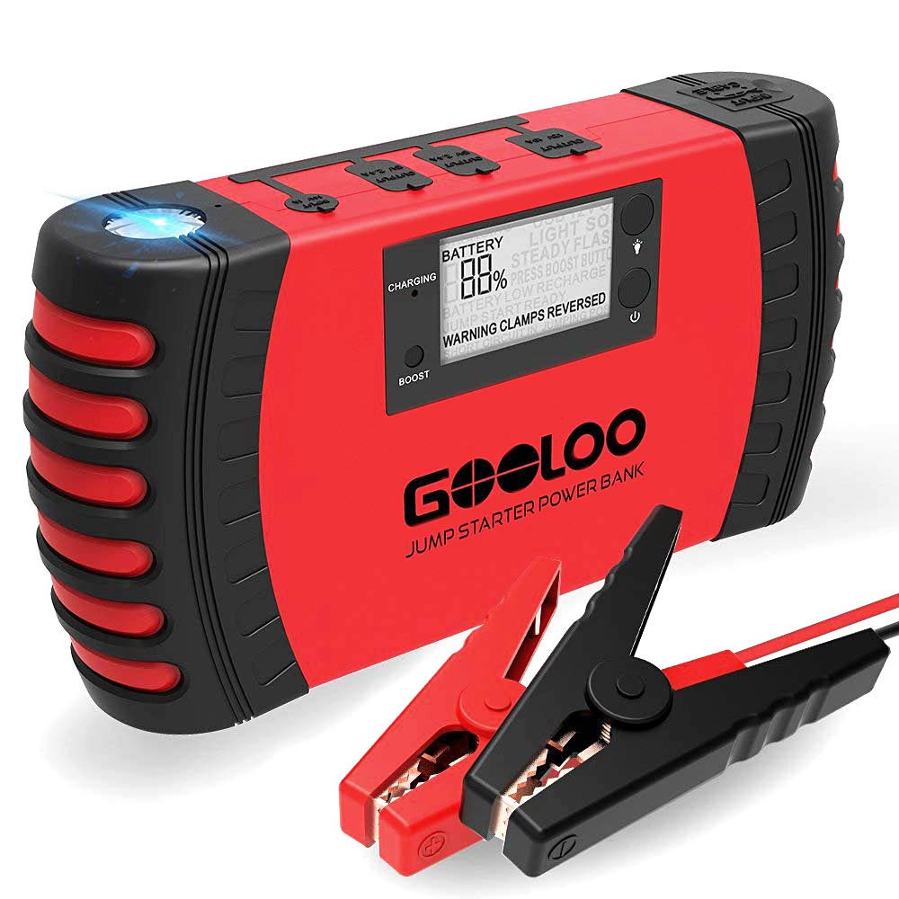 GOOLOO 800A Peak 18000mAh Car Jump Starter (Up to 7.0L Gas or 5.5L Diesel Engine) Portable Phone Charger Auto Battery Booster Power Pack, Built-in LED Light and Smart Protection by GOOLOO