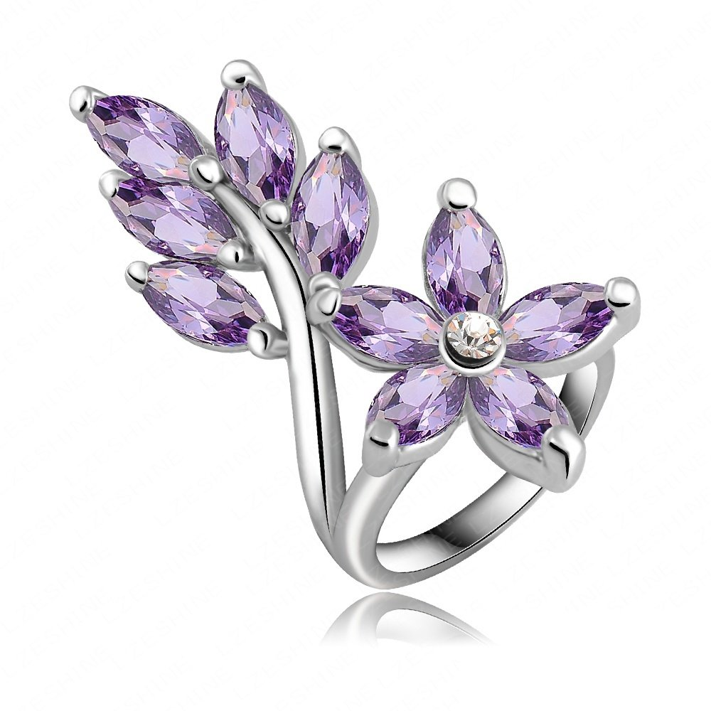 Evertrust (TM)Hottest Fashion Classic Violet Leaf Engagement Rings/Promise Ring With Platinum Plated Zircon Wedding Jewelry Ri-HQ0166