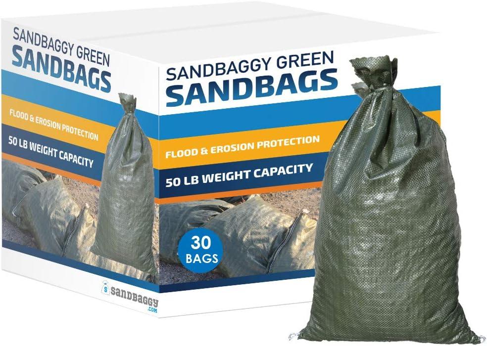 "Sandbaggy - Empty Poly Sandbags W/UV Protection - Size: 14"" x 26"" - Color: Green - Military Grade (30 Bags)"