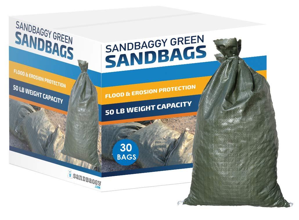 Sandbaggy - Empty Poly Sandbags W/UV Protection - Size: 14'' x 26'' - Color: Green - Military Grade (30 Bags)