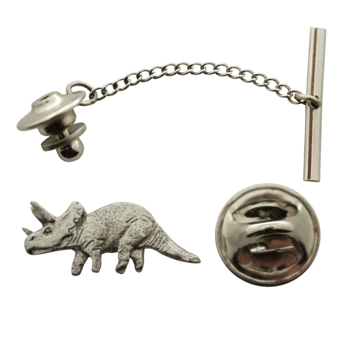 Triceratops Tie Tack ~ Antiqued Pewter ~ Tie Tack or Pin ~ Sarah's Treats & Treasures
