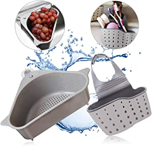 Sink Strainers Basket - Kitchen No Drilling Triangular Multifunctional Drain Shelf Storage Holder with Suction Cup for Support Corner Rack (Gray)