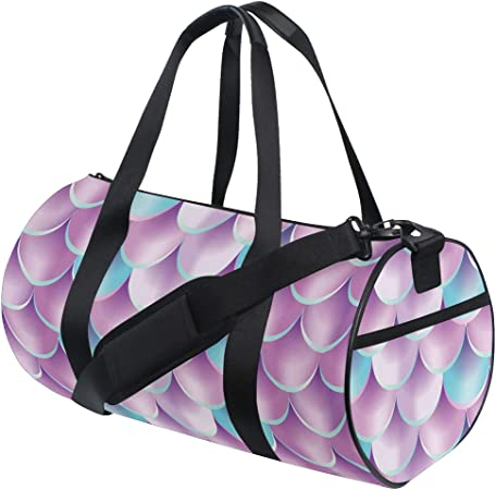 Women /& Men Foldable Travel Duffel Bag Pink Mermaid Fish Scales For Luggage Gym Sports