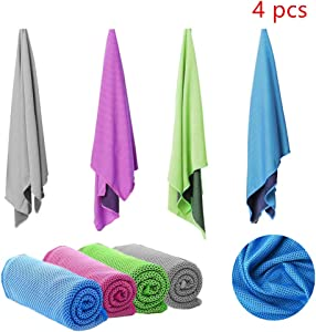 "4 Packs Cooling Towel (40""×12""),Soft Breathable Towel, Microfiber Towel, Fast Drying Towel, Chill Ice Sports Towel and Workout Towel for Sports, Workout, Fitness, Gym, Yoga, Running, Travel, Camping"