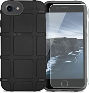 "Phone Case Compatible with Apple iPhone 7/iPhone 8/iPhone SE 2nd Gen (iPhone SE 2020) 4.7"" inch [TJS Tempered Glass Screen Protector] Magpul Industries Bump MAG989-BLK Polymer Retail Packaging (Black)"