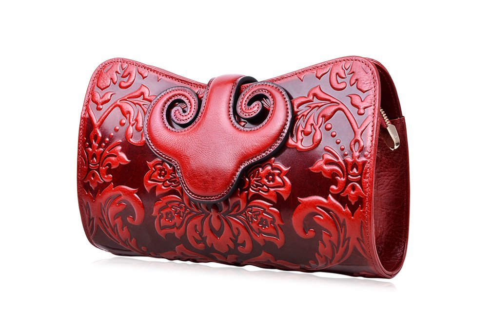 PIJUSHI Womens Crossbody Evening Bag Embossed Floral Party Purse Clutch Bags (22271, Red)