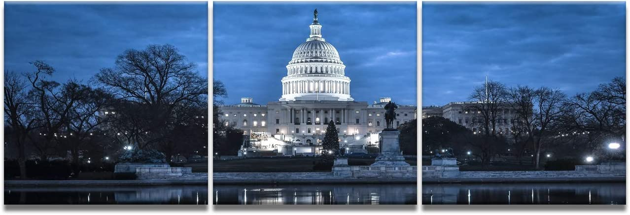 MIAUEN Washington DC Capitol Building at Night Wall Art Posters Canvas Painting Blue Cityscape Pictures City Skyline Wall Decor HD Prints Decorations Framed Ready to Hang(24''Wx72''H)