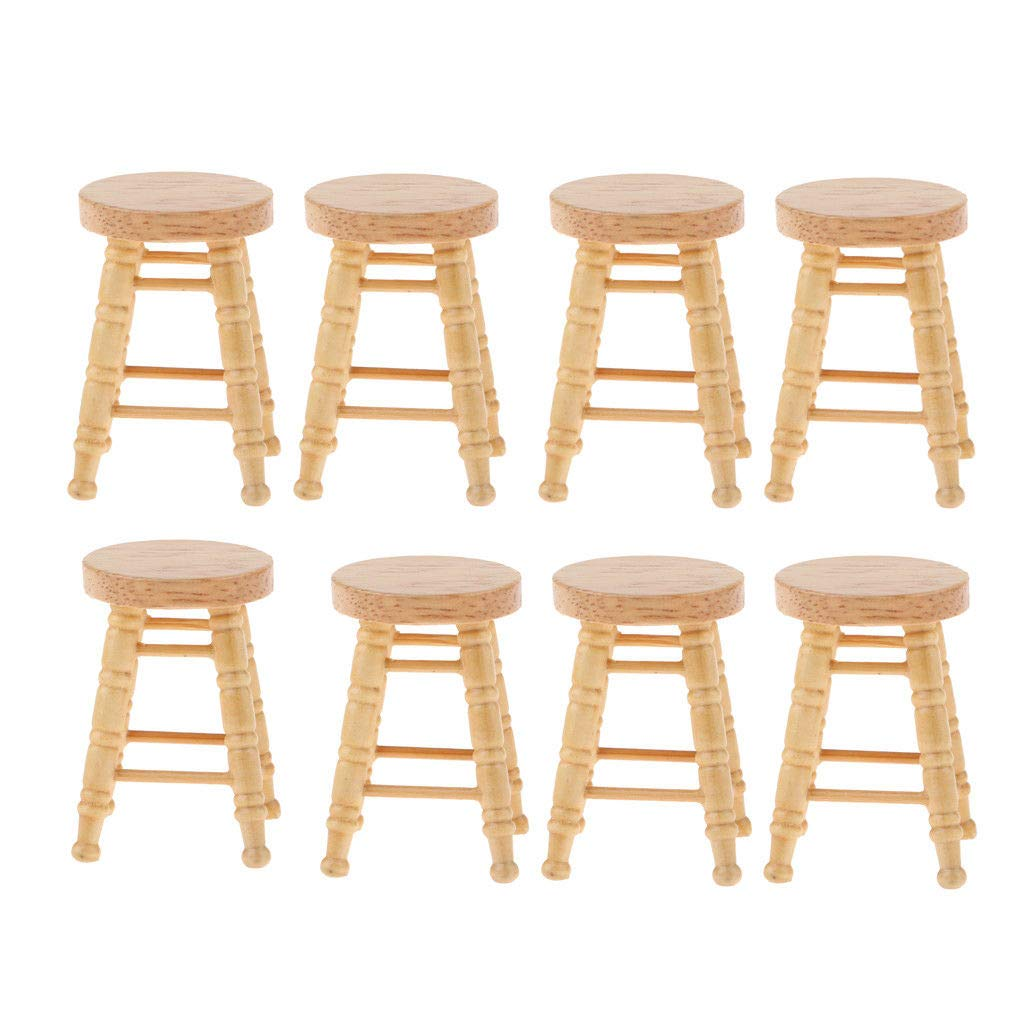 1:12 Dollhouse Miniature Doll Furniture Wooden Bar Stool Upholstered High Chair^