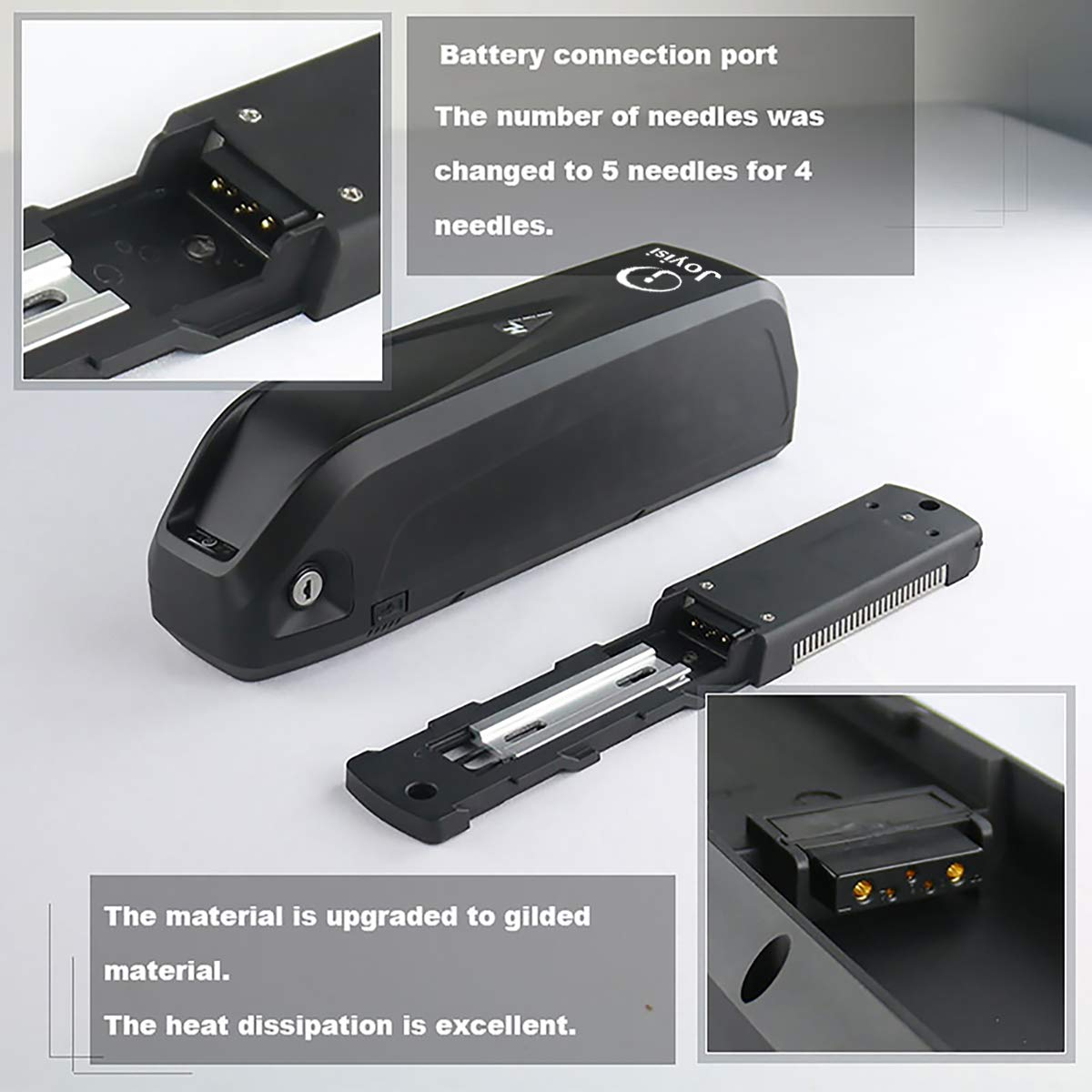 Electric Bike Battery for 1000W // 500W Bike Motor USB Port Joyisi Ebike Battery 48V 13AH // 36V 15AH Lithium ion Battery with Charger Black
