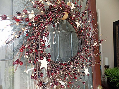 WHD Patriotic Door Wreath with Artificial Berries and Wood Stars on Grapevine Base