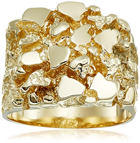 Men's 14k Yellow Gold Nugget Diamond-Cut Ring, Size - 14k Gold Yellow Nugget