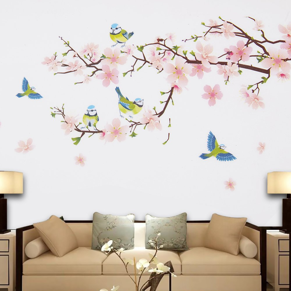 Wopeite Floral Wall Decal Sticker Self - Adhesive Flower Peach Blossom Tree Branch Instant Wall Decal Sticker for Living Room Bedroom 45 X 60 cm by Wopeite (Image #4)
