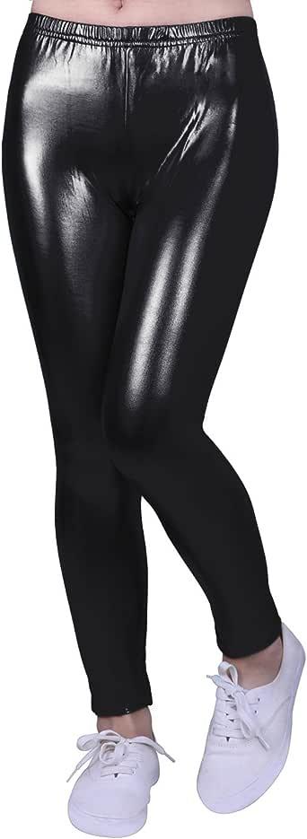 HDE Girls Shiny Wet Look Leggings Kids Liquid Metallic Footless Tights (4T-12)