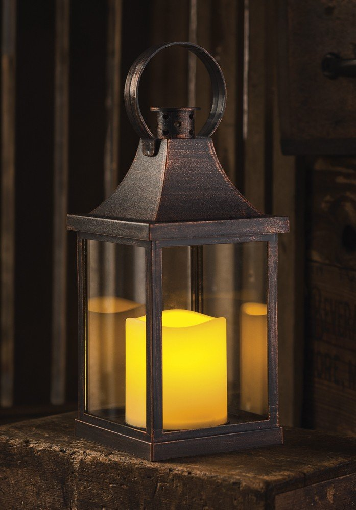 Primitives by Kathy Antique Bronze LED Lantern Home and Garden Accessories by Primitives by Kathy