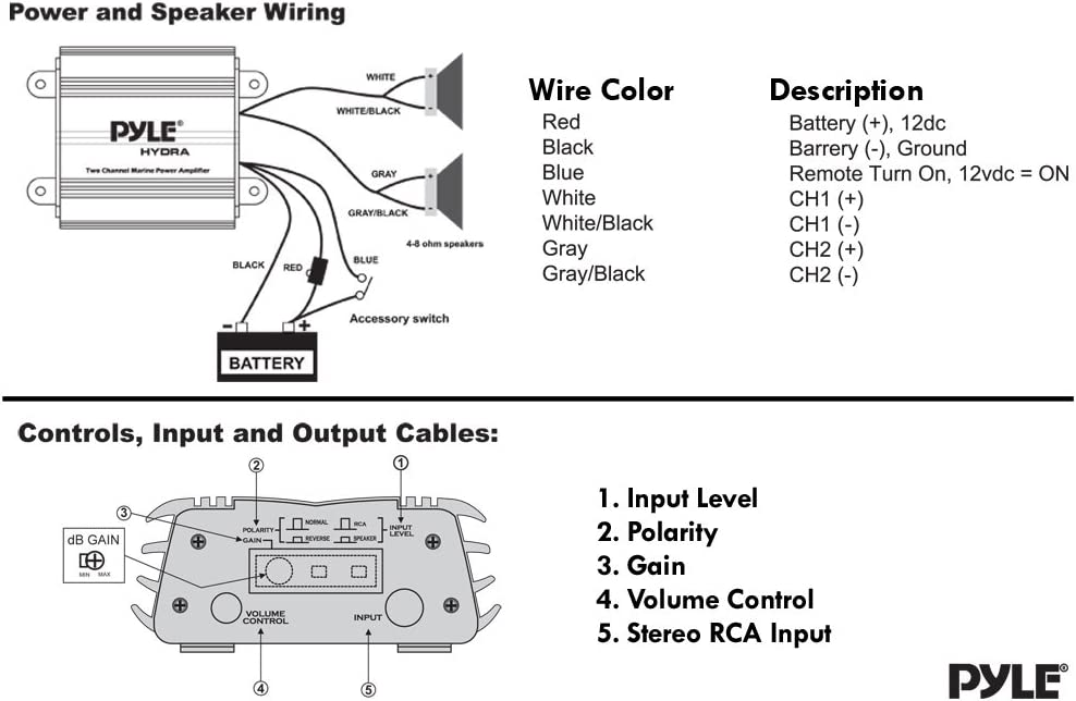 Pyle 2 Channel Marine Amplifier Receiver Waterproof And Weatherproof Audio Subwoofer For Boat Stereo Speaker Amp Other Watercraft 400 Watt Power