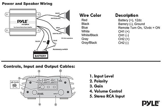 pyle 2 channel marine amplifier receiver waterproof and weatherproof audio subwoofer for boat stereo speaker \u0026 other watercraft 400 watt power, Boss Marine Stereo Wiring Diagram