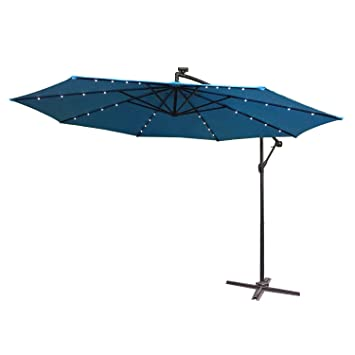 Ø300cm-350cm Sonnenschirm Gartenschirm Kurbelschirm Ampelschirm mit LED Solar