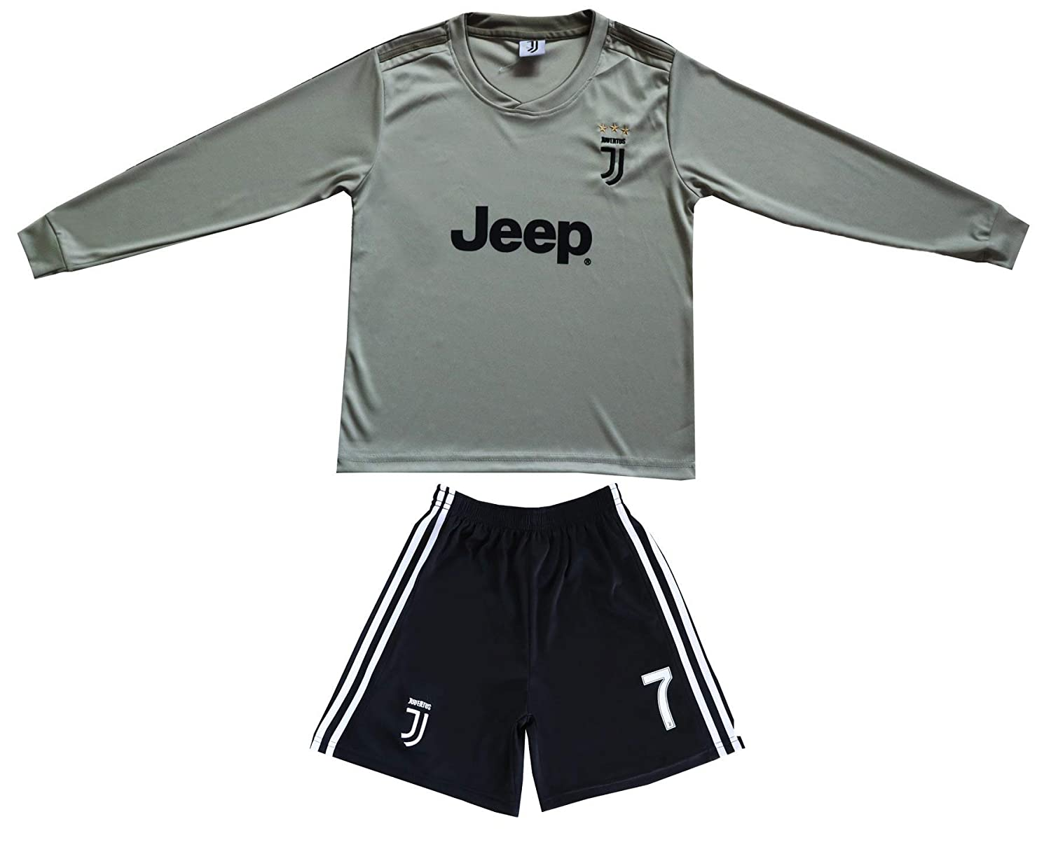 huge discount 65d93 a6b3f GamesDur 2018/2019 Cristiano Ronaldo #7 Away Long Sleeve Soccer Kids Jersey  & Short Set Youth Sizes