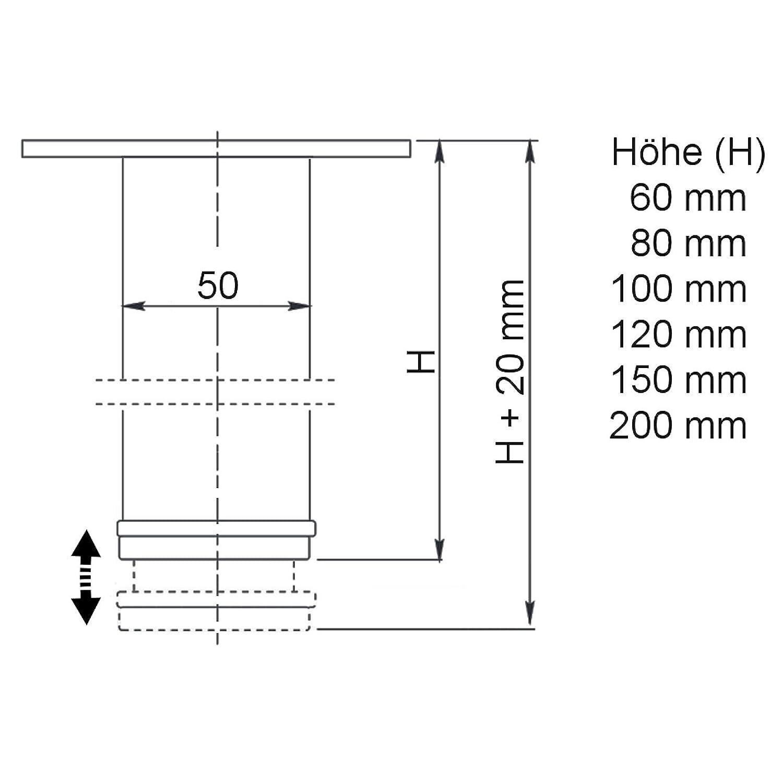 SO-TECH/® Pied de meubleLukas /Ø 42 mm Pied darmoire Hauteur ajustable Acier affin/é Hauteur 100 mm