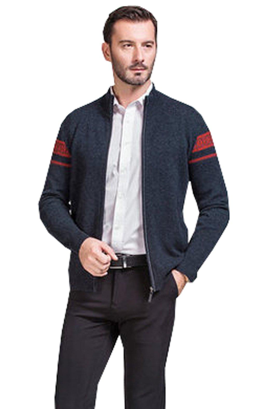 METERDE Men's Premium Zip Through Printed Knit Cardigan Deep Grey L