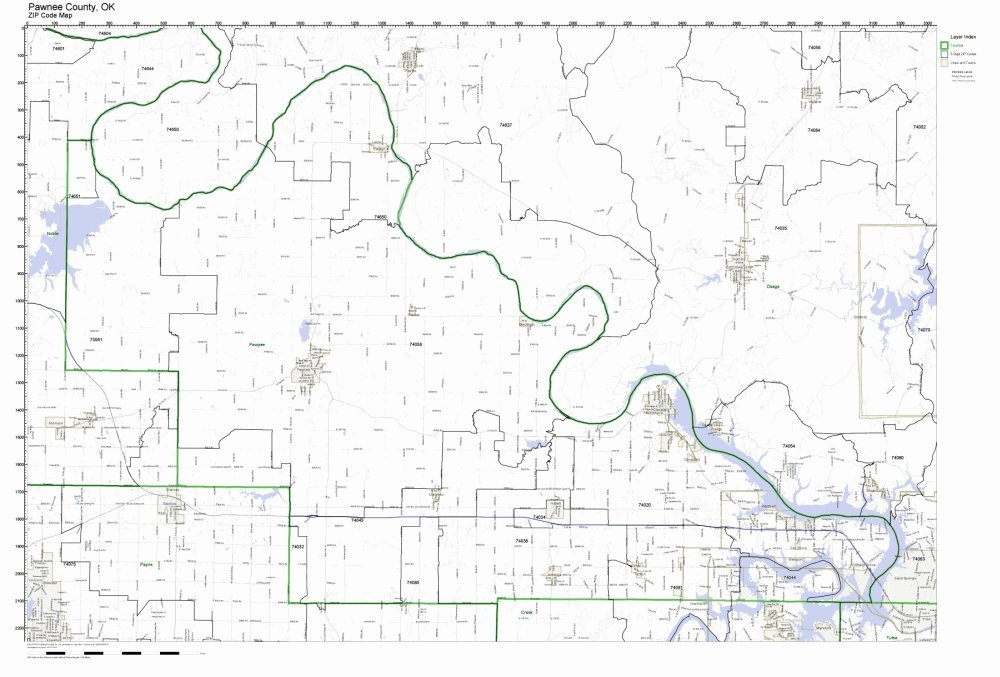 Amazon.com: Pawnee County, Oklahoma OK ZIP Code Map Not ...