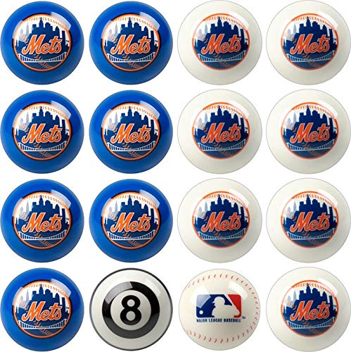 (Imperial Officially Licensed MLB Merchandise: Home vs. Away Billiard/Pool Balls, Complete 16 Ball Set, New York Mets )