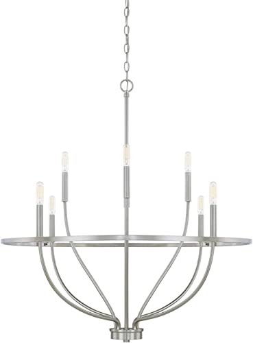 HomePlace 428581BN Greyson Chandelier, 8-Light 480 Total Watts, Brushed Nickel