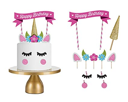 15PCThe Silver Gold Unicorn Birthday Cake Topper Decor Party Small Cute Baby Kids Horn