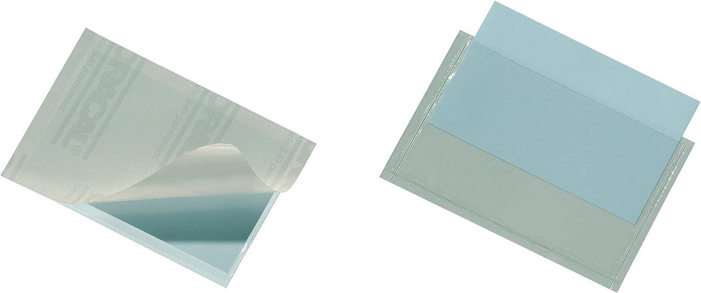 Durable Pocketfix - Funda autoadhesiva para el etiquetado personalizado de carpetas y dosieres, 90 x 57 mm, Paquete de 10