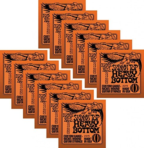 Bulk 12 Sets, Ernie Ball, Electric Guitar Strings, Nickel Wound, Skinny Top Heavy Bottom Gauge (10-52)