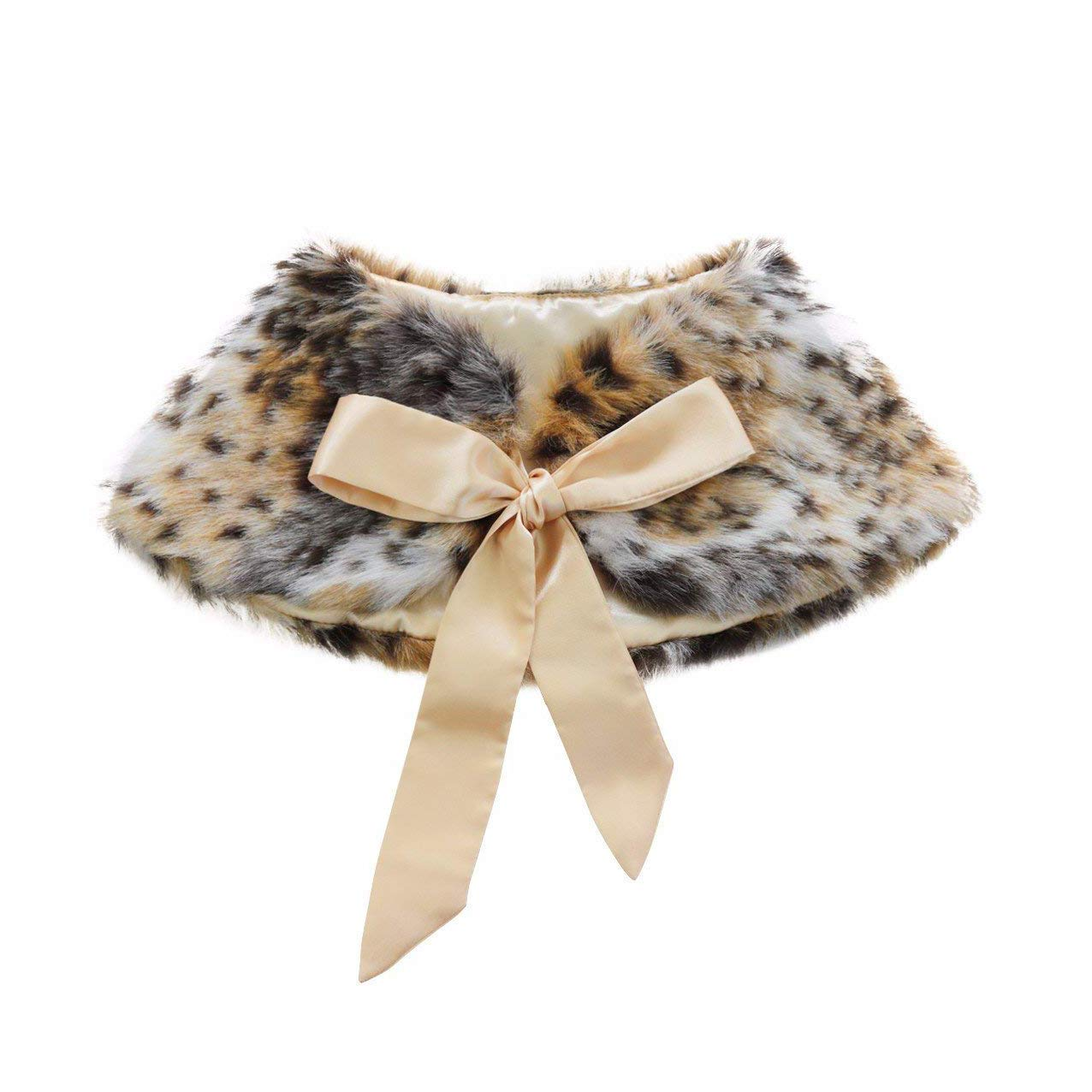 XinQi Girl princess faux fur ribbon dress fur shawl princess vest flower shawl (Leopard print)