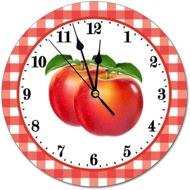 yyone Decorative Wall Clock Cute Red Apple Lovers Wall Clock Round Silent Non Ticking for Office,Kitchen,Bedroom,Living Room 12 Inches