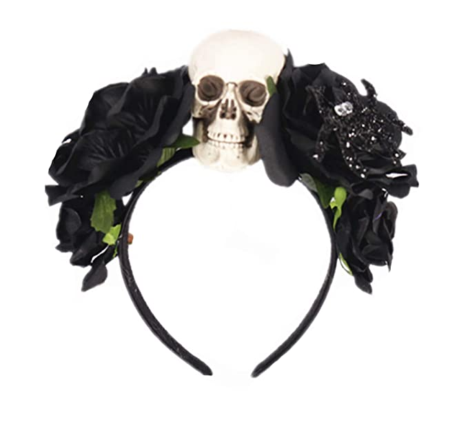 Gothic DAY of the DEAD Black and Red ROSES Flower Garland Headband Festival