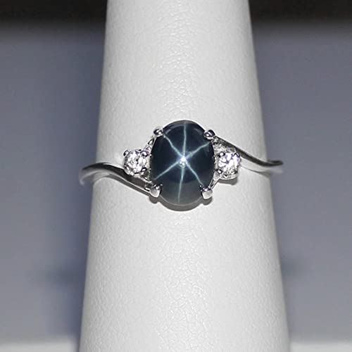 494eccd651f810 Image Unavailable. Image not available for. Color: Genuine Blue Star  Sapphire Sterling Silver Ring ...