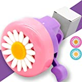 Kids Bike Girl's Bicycle Bells,Toddler Bike Parts,Bike Horn Accessory Flowers(Pink Blue)