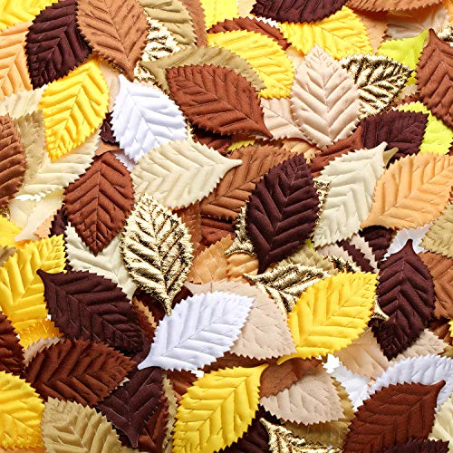 (WILLBOND 150 Pieces Fake Fabric Leaves Mixed Artificial Leaves for Scrapbook, Craft Project, Wedding, Party Decoration (Yellow Series) )