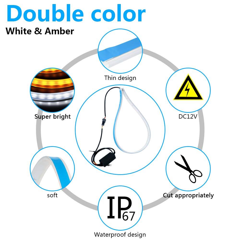 Yanf /étanche de voiture flexible Bande de circulation diurnes DRL Switchback phares et Transformez Signal Tube d/éclairage 2 pcs 61 cm double Couleur Blanc S/équence Ambre LED strip light