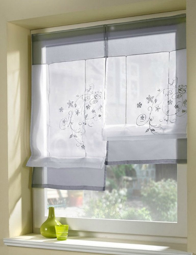 Amazon.com: Uphome 1pcs Country Style Embroidered Flower Voile Roman Curtain    Silk Ribbon Lifting Back Tab/Rod Pocket Sheer Window Curtain,24 X 47 Inch  ...
