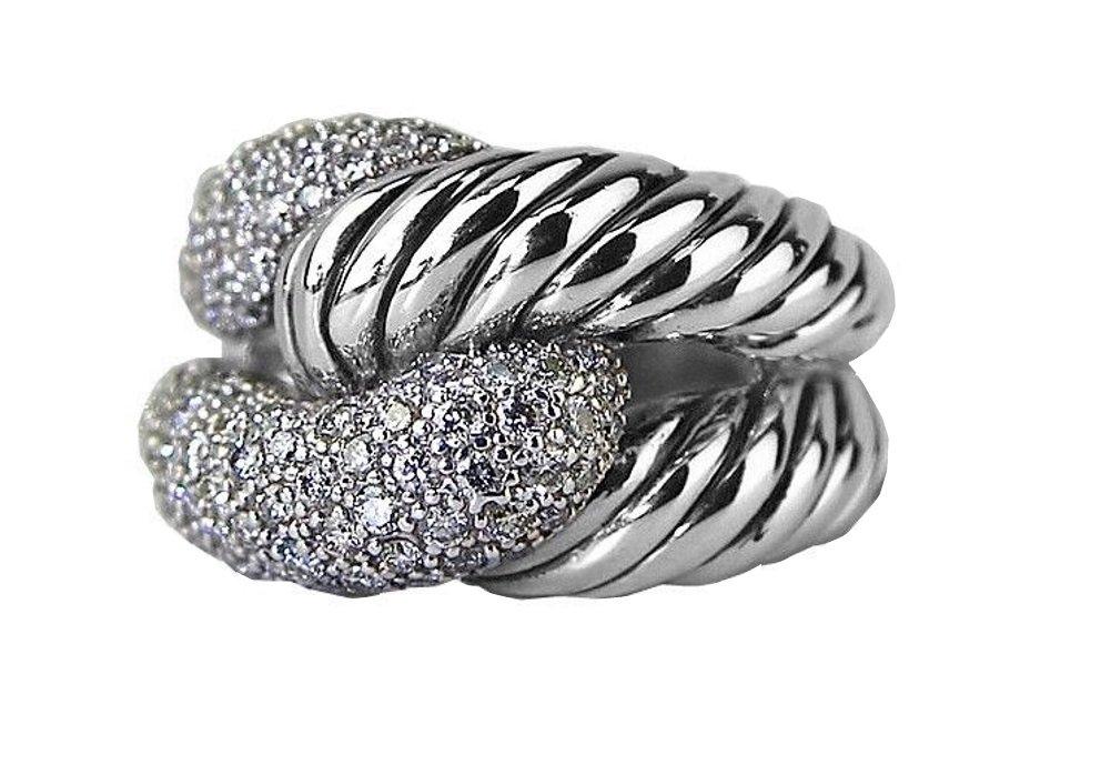 DAVID YURMAN STERLING SILVER PAVE RIO KNOT DIAMOND 0.851 RING SIZE 7 NEW BOX 5R