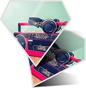 Awesome 2 x Diamond Stickers 7.5 cm - Retro Ghetto Blaster Cassette Tape Fun Decals for Laptops,Tablets,Luggage,Scrap Booking,Fridges,Cool Gift #14276