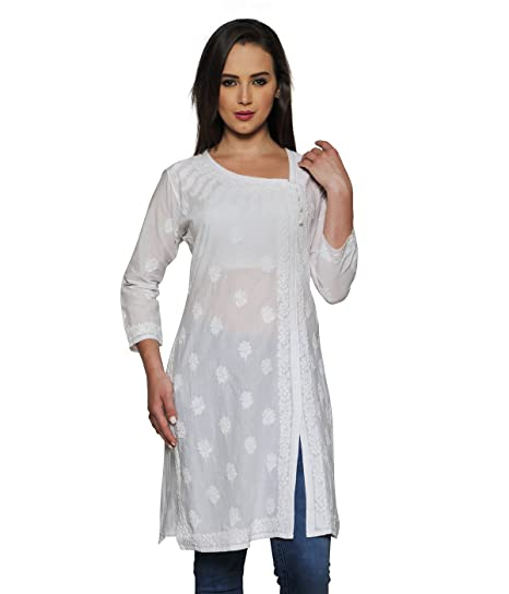 9f20573b0f5488 Amazon.com  Indiankala4U Ladies Kurti Tops Hand Embroidered Angrakha  Chikankari Kurta Top Women  Clothing