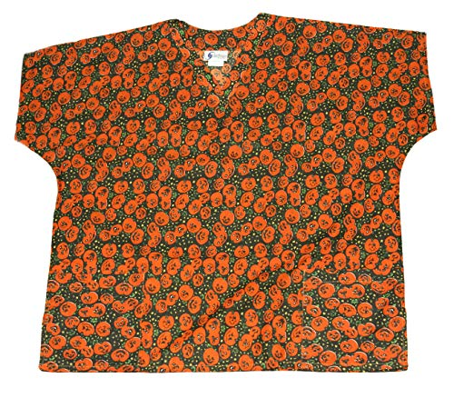 (Cassandra Women's Halloween Medical Nursing Tie Back Scrub Top Shirt (Black/Orange Pumpkin,)