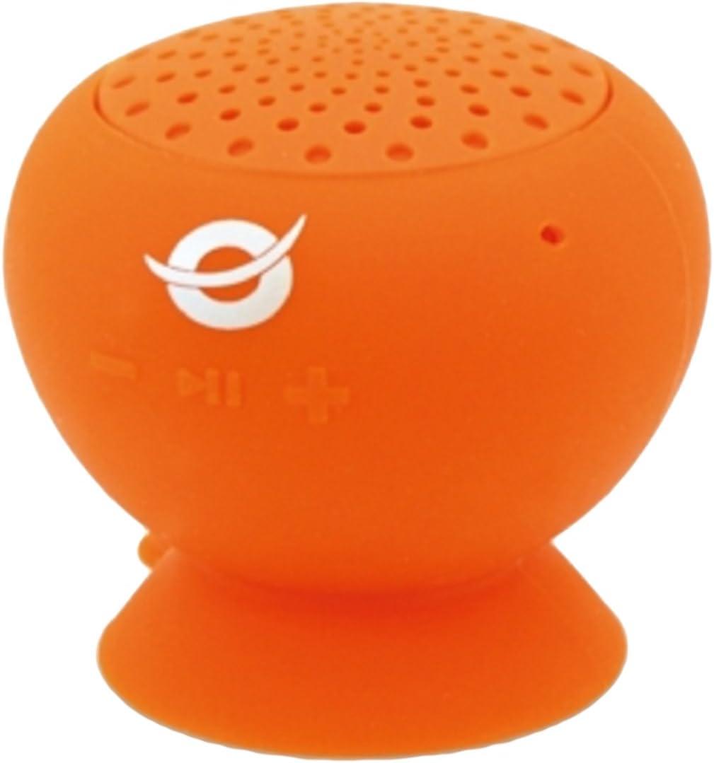 Conceptronic CLLSPKSUCO - Altavoz (Bluetooth, Ventosa, Impermeable) Color Naranja