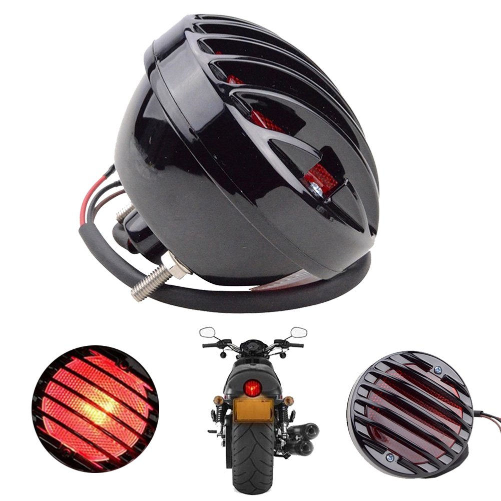 TUINCYN Motorcycle Rear Tail Brake Integrated LED Light Black Case Red Stop Running Indictor Light Universal for Honda Kawasaki Suzuki Yamaha Motorcycle Light Accessories (Pack of 1) BHBAZUALIn5352