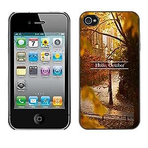 Paccase / SLIM PC / Aliminium Casa Carcasa Funda Case Cover - Sign Leaves Fall Autumn Nature - Apple Iphone 4 / 4S