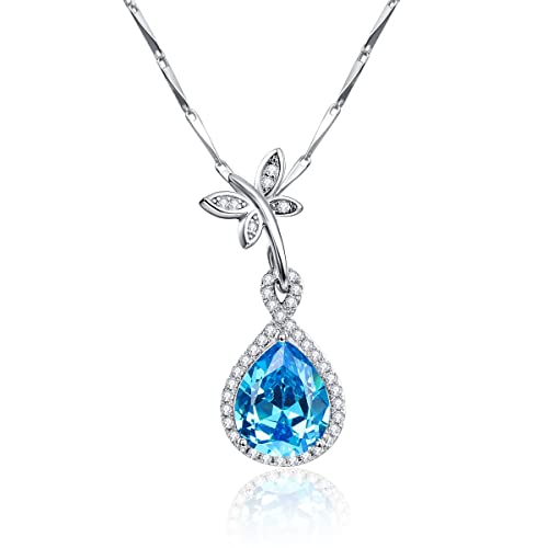 3263fba9cbd BONLAVIE 6.75ct Created Swiss Blue Topaz Butterfly Teardrop Shaped 925  Sterling Silver Pendant Necklace