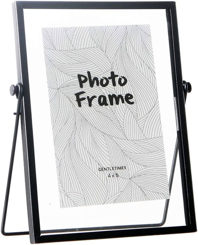 """FLY SPRAY Metal Photo Frame Free Standing Collection Picture Frame Decor with Plexiglas Cover High Definition Glass Desk Photo Display Pictures 4""""x 6"""" Black"""