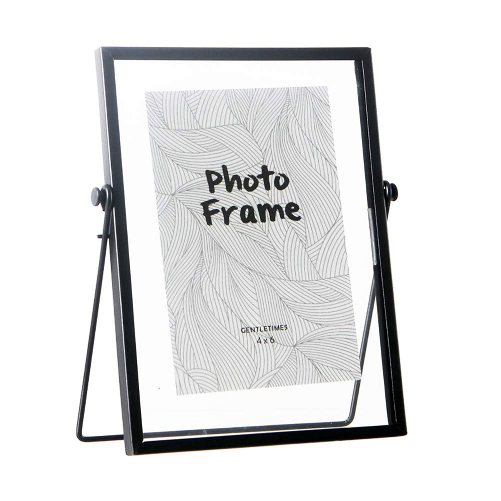 FLY SPRAY Metal Photo Frame Free Standing Collection Picture Frame Decor with Plexiglas Cover High Definition Glass Desk Photo Display Pictures 4''x 6'' Black by FLY SPRAY