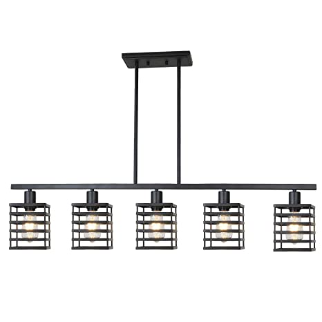 Island Pendant Lighting 5 Lights Linear Kitchen Light Fixtures Rustic Semi Flush Mount Ceiling Lights Black Contemporary Chandeliers With Metal Cage